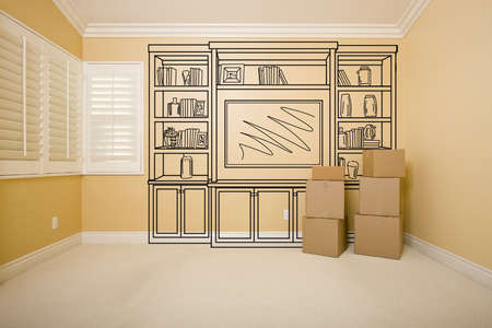 drawing room: Moving Boxes in Empty Room with Shelf Design Drawing on the Wall. Stock Photo