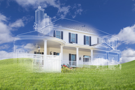 house construction: Beautiful Custom House Drawing and Ghosted House Above Grass Field. Stock Photo