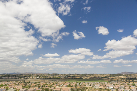 suburban neighborhood: Elevated View of New Contemporary Suburban Neighborhood and Majestic Clouds.