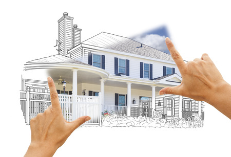 building: Hands Framing House Drawing and Photo Combination on White. Stock Photo