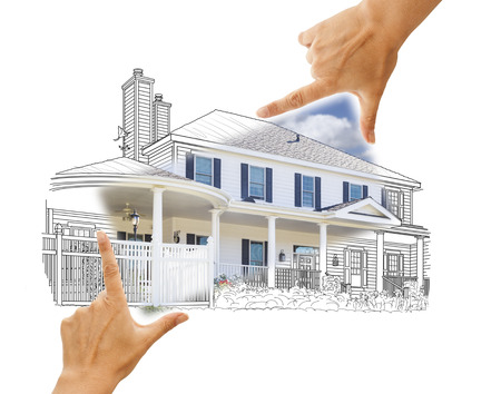 residential homes: Hands Framing House Drawing and Photo Combination on White. Stock Photo