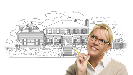hoping: Woman with Pencil Over House Drawing on White Background.