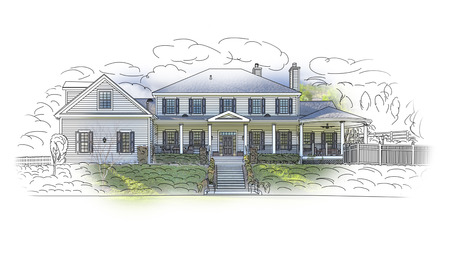 house blueprint: Custom House Drawing and Ghosted Photo Combination on White Background. Stock Photo
