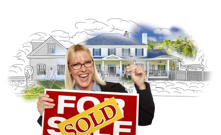 home owner: Excited Woman Holding House Keys, Sold Real Estate Sign Over House Photo and Drawing on White.