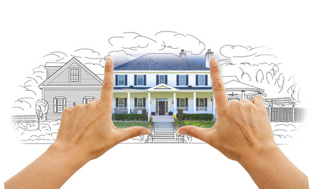 Hands Framing House Drawing and Photo Combination on White. Stock Photo