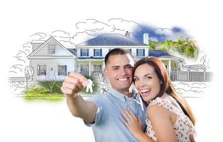 Military Couple mit Schlüssel über Haus Zeichnung und Foto Kombi auf Weiß.