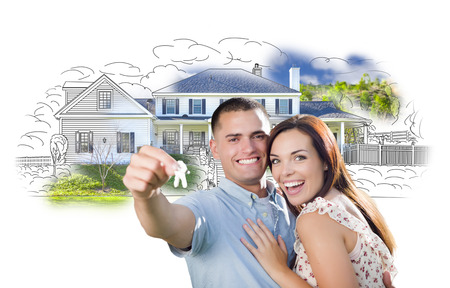 happy couple: Military Couple with Keys Over House Drawing and Photo Combination on White. Stock Photo