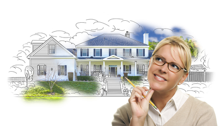 bought: Woman with Pencil Over House Drawing and Photo Combination on White.