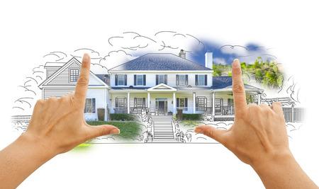 Hände Rahmung Haus Zeichnung und Foto Kombi auf Weiß.
