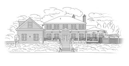 architectural rendering: Custom Black House Facade Drawing on a White Background.