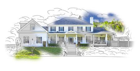 Custom House Zeichnen und Foto Kombination auf weißem Hintergrund.