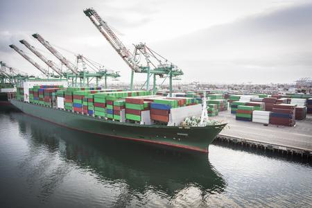 Obchod Loď kotví v přístavu San Pedro, Kalifornie, USA Reklamní fotografie