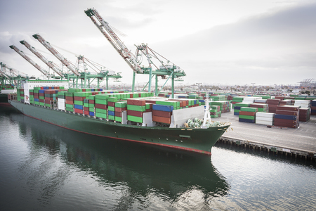 Trade Ship Harbored at Port of San Pedro, California, U.S.A. Stock Photo