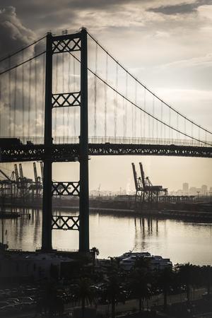 stated: Dramatic Port of San Pedro, California and Bridge.