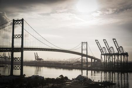 stated: Dramatic Port of San Pedro California and Bridge.