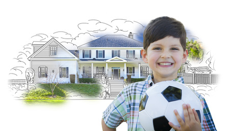 housing project: Cute Smiling Young Boy Holding Soccer Ball In Front of House Sketch Photo Combination.
