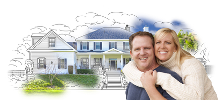 homes: Happy Hugging Couple Over House Drawing and Photo Combination on White. Stock Photo