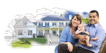 housing: Mixed Race Couple with Baby Over House Drawing and Photo Combination on White.