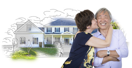 retire: Attractive Affectionate Senior Chinese Couple In Front of House Sketch Photo Combination on White. Stock Photo