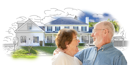 seniors: Happy Senior Couple Over House Drawing and Photo Combination on White.