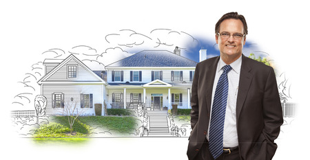 ties: Man Wearing Suit and Neck Tie Over House Drawing and Photo Combination on White.