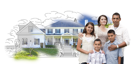 home owner: Young Hispanic Family Over House Drawing and Photo Combination on White. Stock Photo