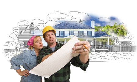 contractor: Woman Talking with Contractor Over House Drawing and Photo Combination on White.