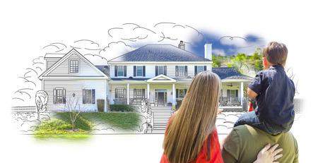 Junge Familie Mit Blick auf Haus-Zeichnung und Foto Combination auf Weiß.