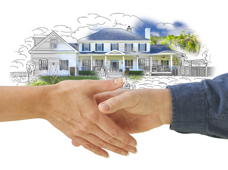 businessmen shaking hands: Man and Woman Shaking Hands in Front of a New House Drawing Photo Combination. Stock Photo