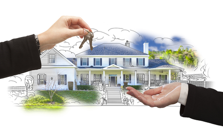 suburbia: Handing Over Keys On House Drawing and Photo Combination on White. Stock Photo