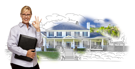 home owner: Woman with Okay Sign and File Folder Over House Drawing and Photo Combination on White.