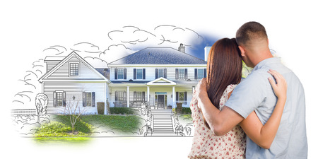 mixed race girl: Military Couple Looking At House Drawing and Photo Combination on White.