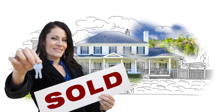 agent: Hispanic Woman Holding Keys and Sold Sign Over House Drawing and Photo Combination on White.