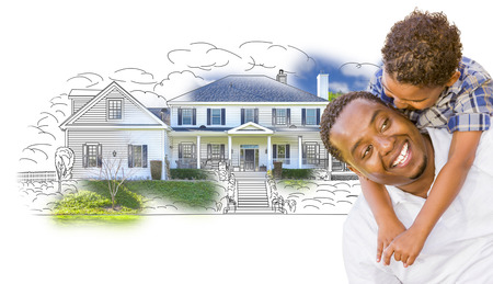 family outside house: Mixed Race Father and Son Over House Drawing and Photo Combination on White.