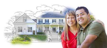 mixed race girl: Mixed Race Couple Over House Drawing and Photo Combination on White. Stock Photo