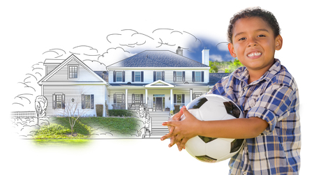 mixed race children: Young Mixed Race Boy Holding Soccer Ball Over House Drawing and Photo Combination on White. Stock Photo