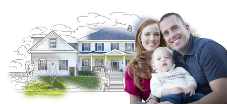 mixed race: Young Military Family Over House Drawing and Photo Combination on White.