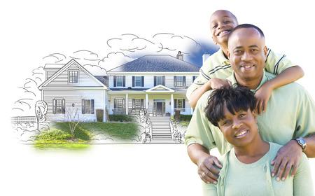 Glücklichen Afroamerikaner-Familie über Haus Zeichnung und Foto Kombi auf Weiß. Standard-Bild - 42260797