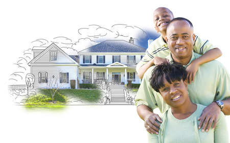 black man: Happy African American Family Over House Drawing and Photo Combination on White.