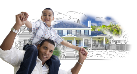front or back yard: Hispanic Father and Son Over House Drawing and Photo Combination on White.