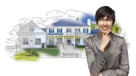 mixed race: Mixed Race Female Gazing Over House Drawing and Photo Combination on White.