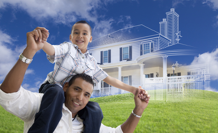 piggyback: Hispanic Father and Son Piggyback with Ghosted House Drawing, Partial Photo and Rolling Green Hills Behind.