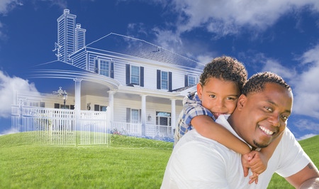 dad son: Mixed Race Father and Son with Ghosted House Drawing, Partial Photo and Rolling Green Hills Behind.