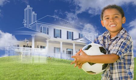 hispanic boy: Mixed Race Young Boy Holding Soccer Ball with Ghosted House Drawing, Partial Photo and Rolling Green Hills Behind. Stock Photo