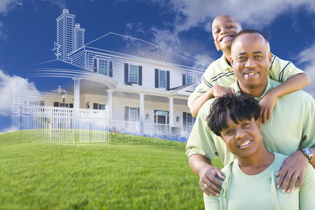 african american family: Happy African American Family with Ghosted House Drawing, Partial Photo and Rolling Green Hills Behind.