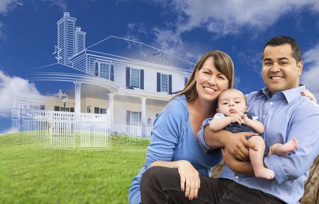 house shopping: Mixed Race Family with Ghosted House Drawing, Partial Photo and Rolling Green Hills Behind.