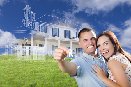 home construction: Happy Military Couple Holding House Keys with Ghosted House Drawing, Partial Photo and Rolling Green Hills Behind.
