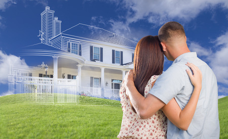 homes exterior: Young Military Couple Facing Ghosted House Drawing, Partial Photo and Rolling Green Hills. Stock Photo