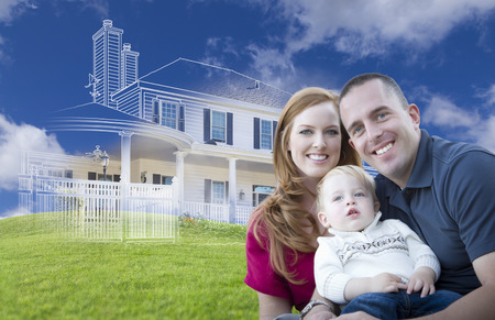 Young Military Family with Ghosted House Drawing, Partial Photo and Rolling Green Hills Behind.