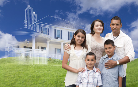 hispanic: Hispanic Family with Ghosted House Drawing, Partial Photo and Rolling Green Hills Behind.